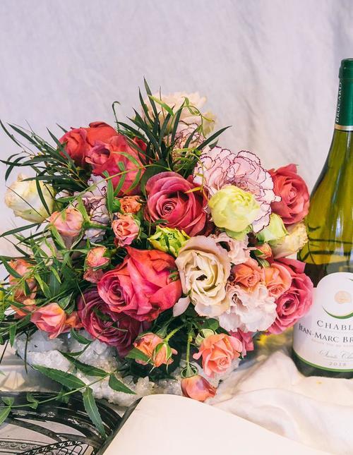 Wild bouquet  with wine